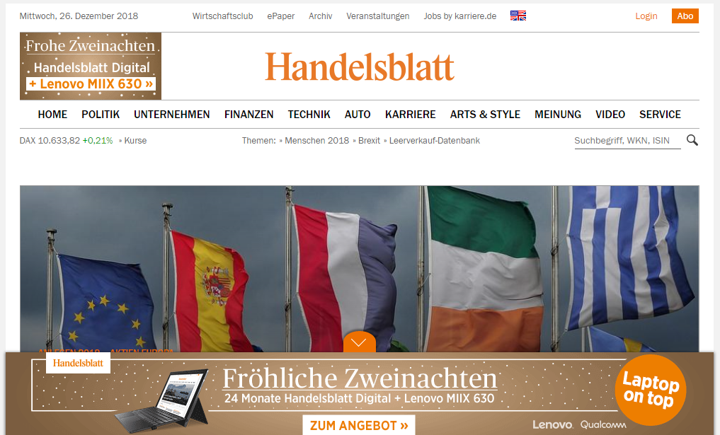 NEWS PROXY AND MIRROR SITES TO UNBLOCK HANDELSBLATT.COM