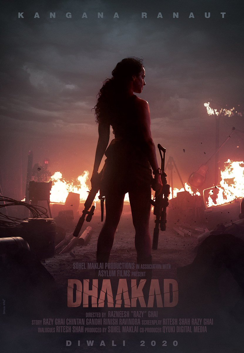 DHAAKAD FIRST LOOK OUT KANGANA RANAUT WITH MACHINE GUNS